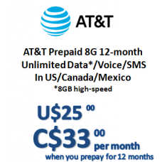 AT&T Prepaid 8G 12-month